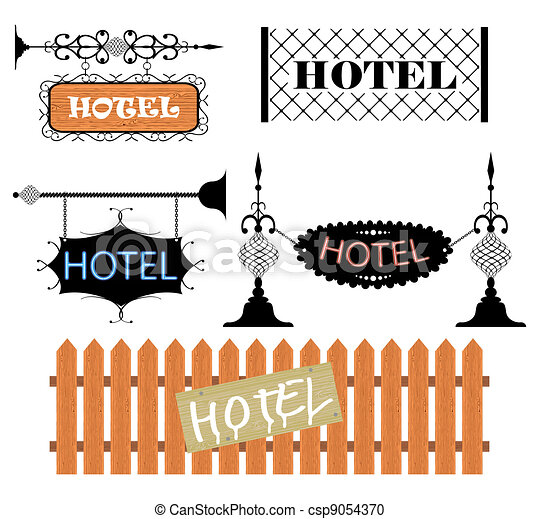 Wrought iron vintage signs and decor elements - csp9054370