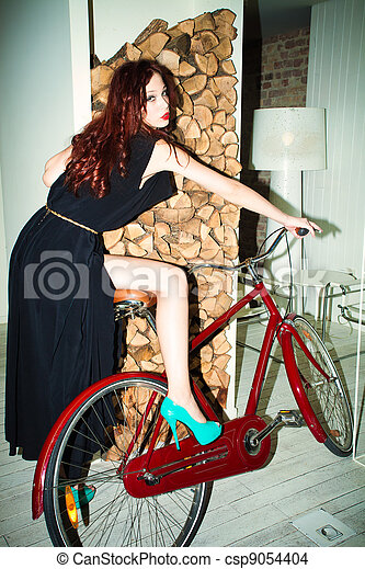 woman on bicycle - csp9054404