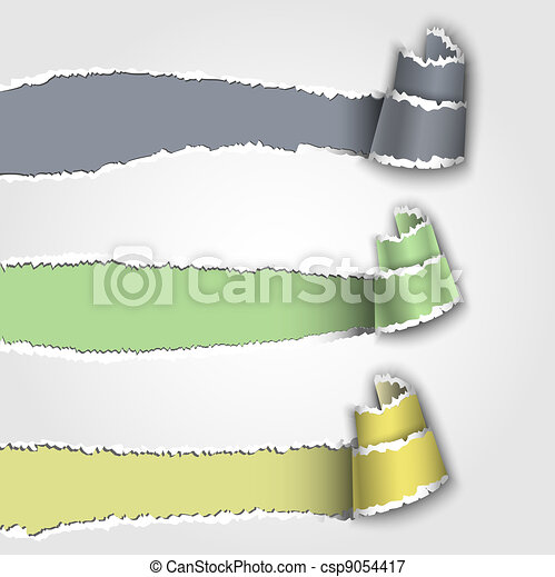 Three torn paper banner - csp9054417