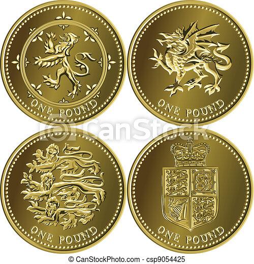 Vector set British money gold coin one pound - csp9054425