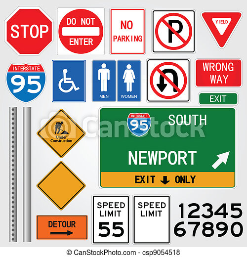 Road Signs Illustration - csp9054518