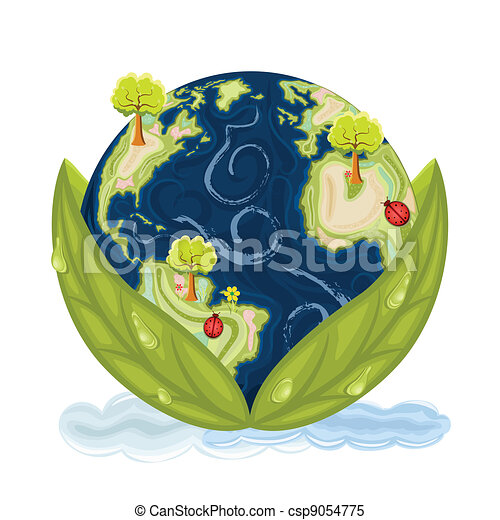 Clipart Vector of Green Earth - preserving our planet - Our planet ...