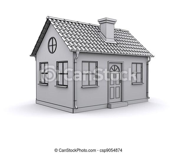 Illustration cadre maison 3d mod le blanc banque d for Dessin de maison en 3d
