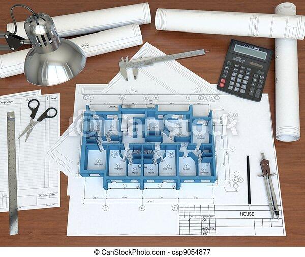 3D model floor of the house on the desktop architect. 3D rendering - csp9054877