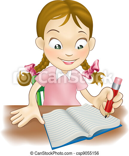 Young girl writing in a book - csp9055156