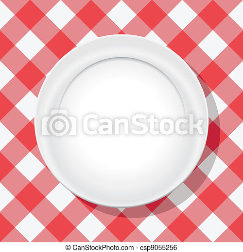 vector red picnic tablecloth and empty plate - csp9055256