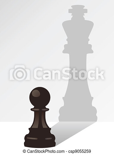 vector chess pawn with the shadow of a king - csp9055259