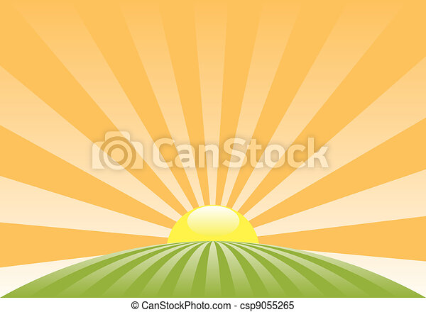 vector abstract rural landscape with rising sun - csp9055265