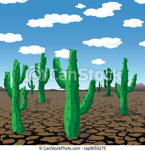 vector cactuses in dry desert - csp9055275