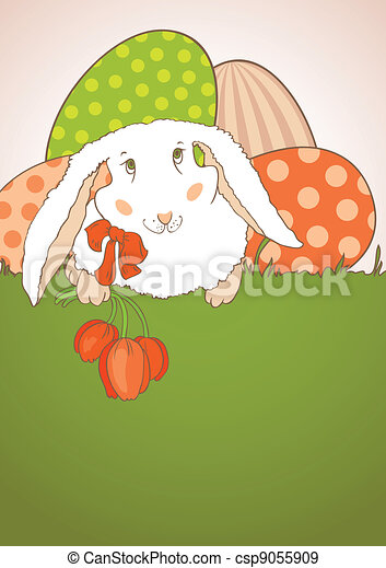 Easter Bunny with tulips postcard - csp9055909