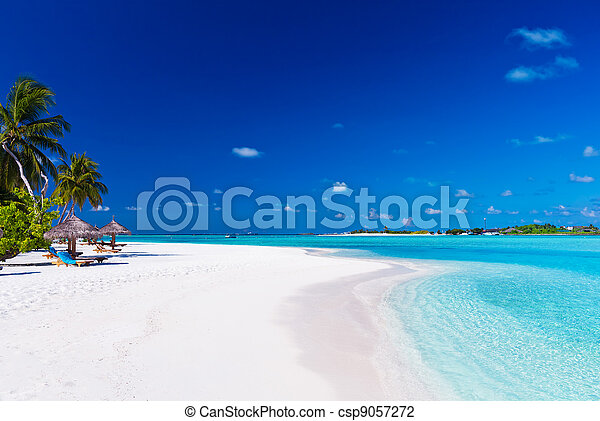 Palm trees over lagoon and white sandy beach - csp9057272