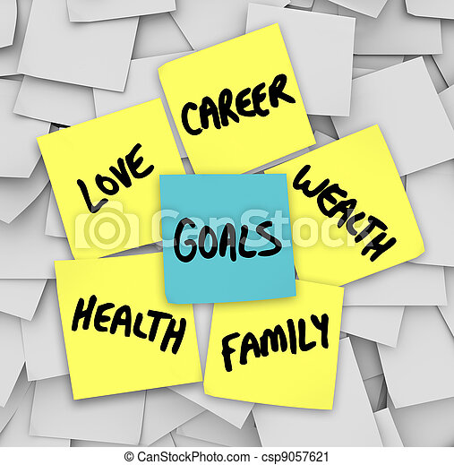 Goals on Sticky Notes Health Wealth Career Love - csp9057621