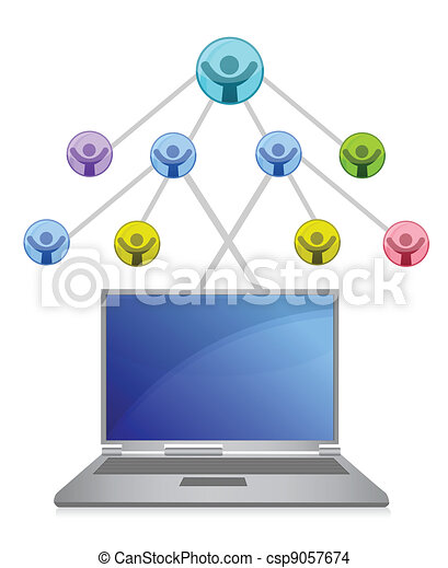 laptop and social network grid - csp9057674