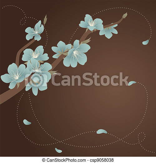 Glass blue blooming branch - csp9058038