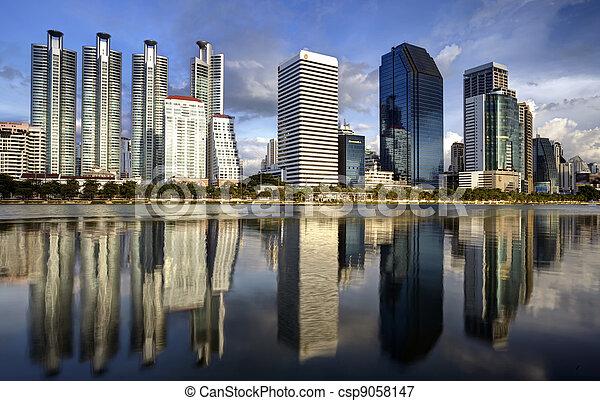 Bangkok city town and the water park - csp9058147