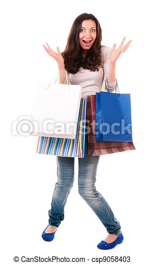 Emotional woman with shopping bags - csp9058403