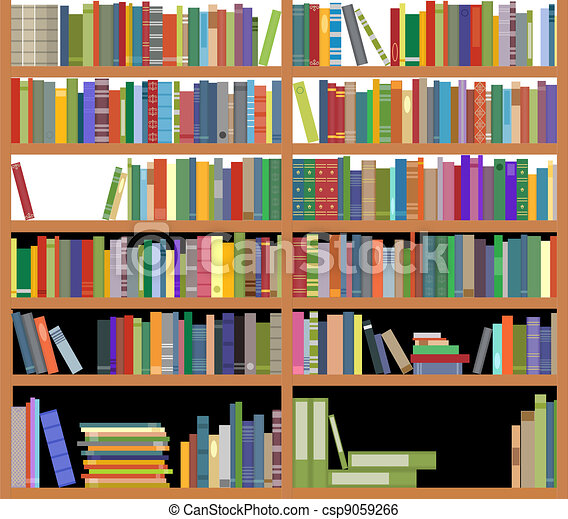 Bücherregal clipart  Clip Art Vektor von bücherregal, buecher - Bookshelf, mit, uralt ...
