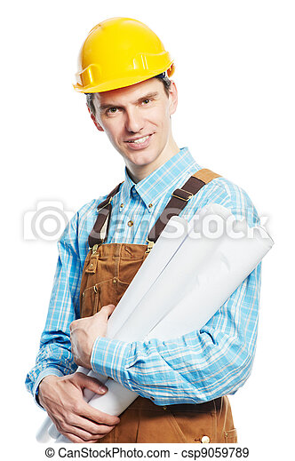 Happy worker in hardhat and overall with drafts - csp9059789