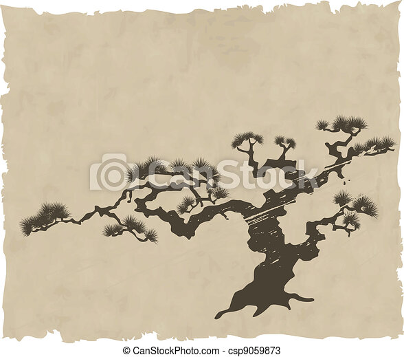 the Japanese landscape silhouette vector - csp9059873