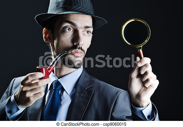 Detective with magnifying glass and pipe - csp9060015