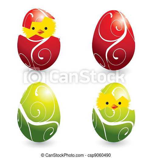 colorful easter eggs and hatching chicks - csp9060490