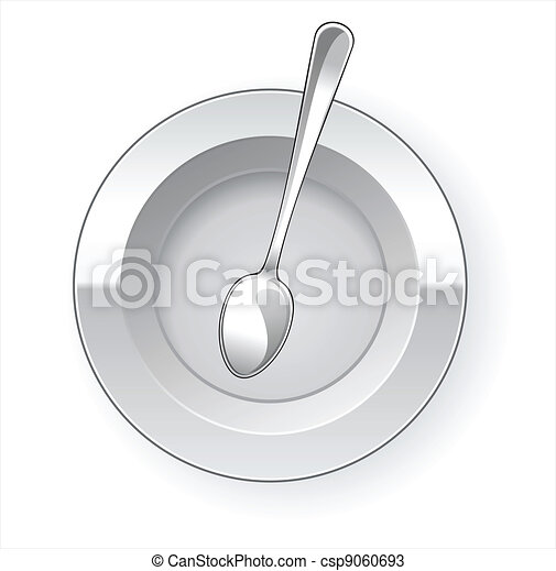Empty dinner plate and spoon - csp9060693