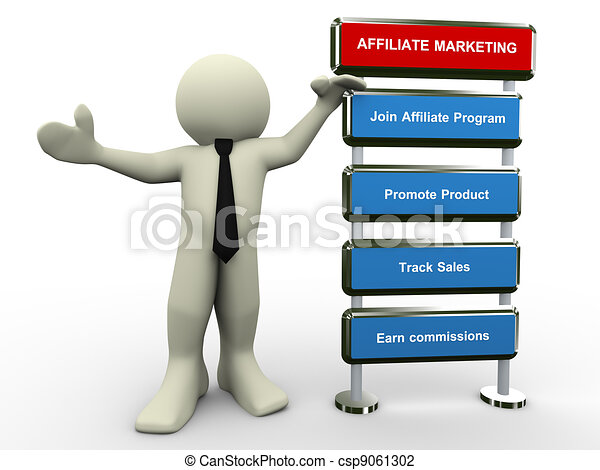 3d man affiliate marketing - csp9061302