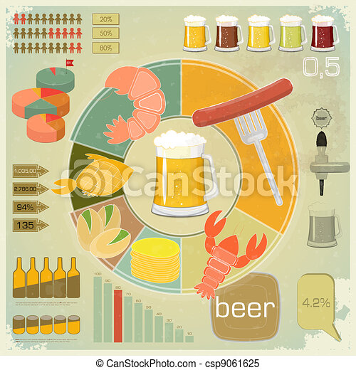 Vintage Infographics set - Beer icons, Snack - csp9061625