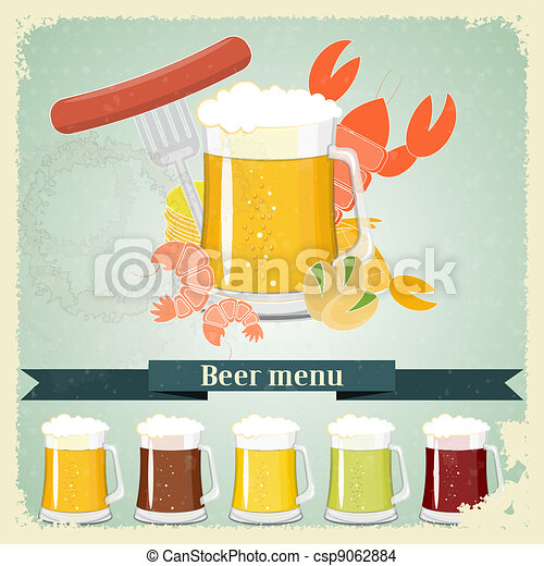 Vintage postcard, cover menu - Beer, beer snack - csp9062884