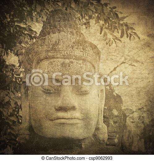Head of gate guardian, Angkor, Cambodia - csp9062993