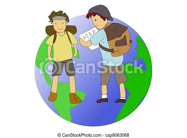 Backpackers travel around the world - csp9063068
