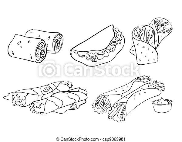 Vector Clip Art de Taco, Envuelve - aislado, Ilustración, Taco ...