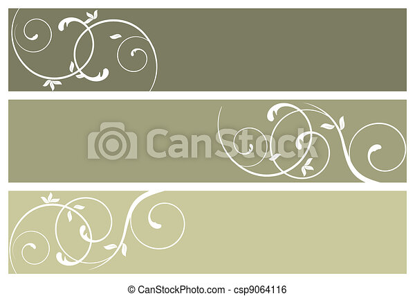 floral banners - csp9064116