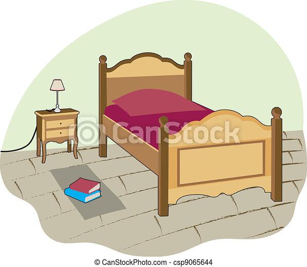 Eps vector de smal dormitorio peque o habitaci n con for Dormitorio animado