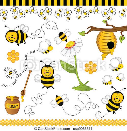 Bee digital collage - csp9066511