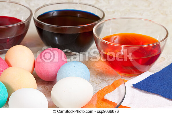 painting eggs for Easter - csp9066876