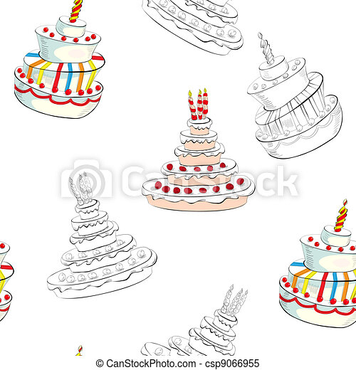 Cake Line Art Vector Free Download : Clipart Vector of Seamless background with wedding cake ...