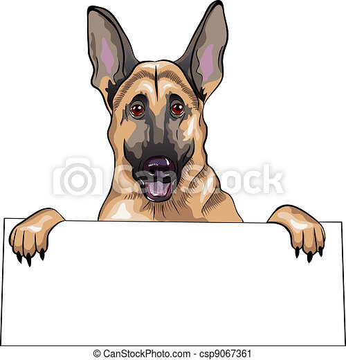 vector color sketch dog German shepherd breed smile - csp9067361
