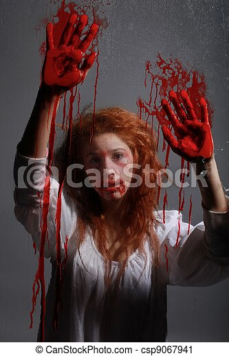 Woman in Horror Situation With Bloody Face - csp9067941