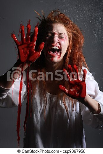 Woman in Horror Situation With Bloody Face - csp9067956