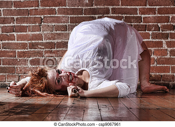 Woman in Horror Situation With Bloody Face - csp9067961