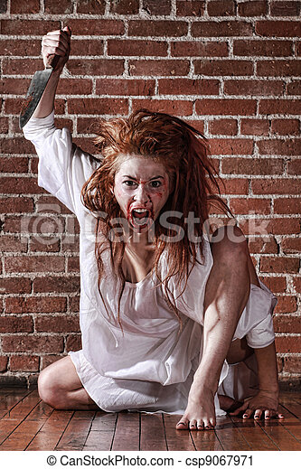 Woman in Horror Situation With Bloody Face - csp9067971