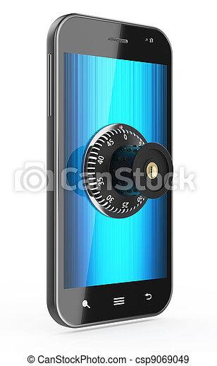 Phone with combination Lock - csp9069049