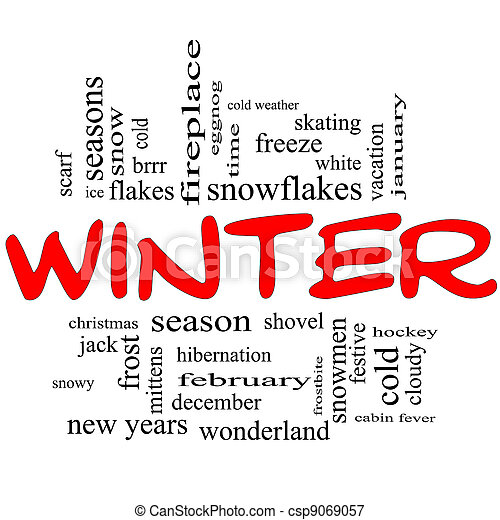 Winter Word Cloud Concept in Red Caps - csp9069057
