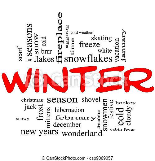 Winter Word Cloud Concept in Red Caps - csp9069057