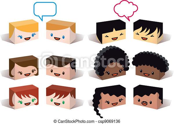 diversity avatars, vector - csp9069136