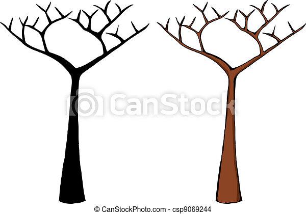 Vecteur eps de nu arbre dessin anim mort arbre - Dessin arbre nu ...