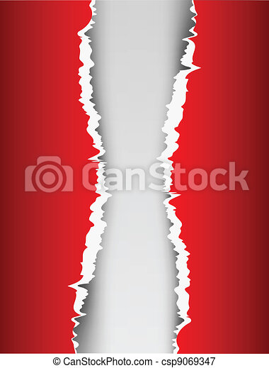 Red background with ripped paper - csp9069347
