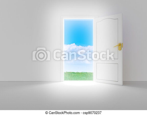 Empty white room with opened door and beautiful view, 3d render - csp9070237