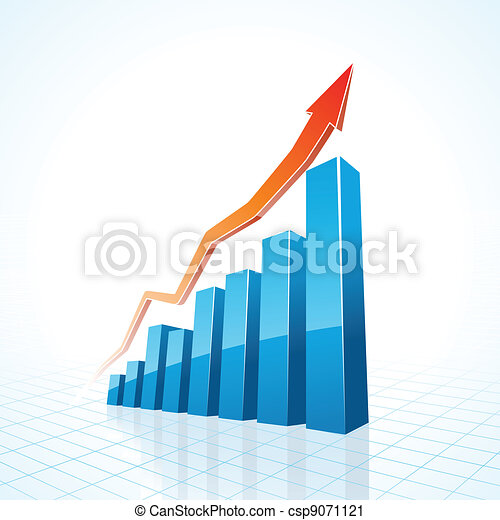 3d business growth bar graph - csp9071121